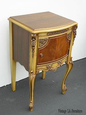Vintage Rococo French Provincial Carved Wood Gold & Yellow NIGHTSTAND 1936