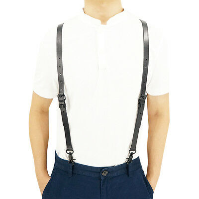 "Black Y back Genuine Leather Belt Loop 0.7"" Width Suspenders with 3 Snap Hooks"