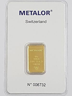 Metalor 10G (10 Gram) 24Ct Purity 999.9 Gold Bar Sealed