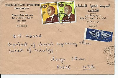 Morocco Air Mail Cover From Rabat To Usa With King Hassan Ii Stamps