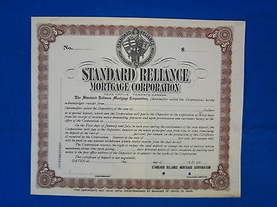 Stock Cert.: Standard Reliance, Mortage Corp. of Canada, Punch Cancel (S7160)