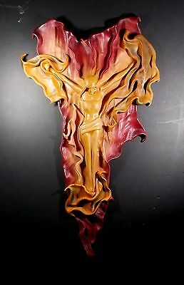 Leather Sculpted Christ Passion On Cross Abstract