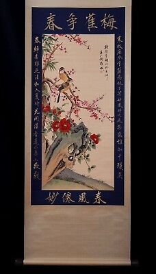 Nice Rare Old Chinese Birds Landscape Hand Painting Collectible Mark KK163