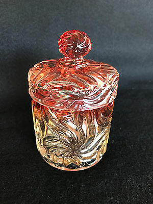 Antique Baccarat Crystal Amberina Bamboo Rose Tiente Dresser Jar With Lid 1890s
