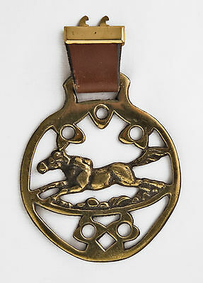 Vintage English Galloping Horse Brass Tack England Medallion Tack Bridle Equestr