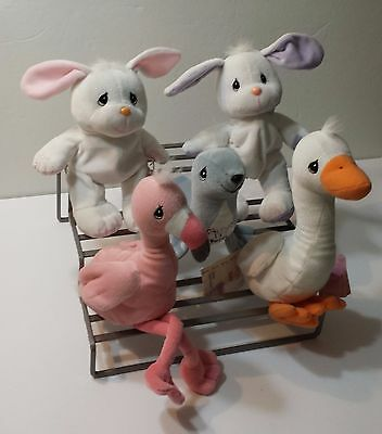 Precious Moments Plush Stuffed Animal Lot of 5 Tender Tails Duck Flamingo Seal