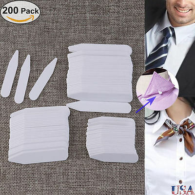 "200pcs Plastic Shirt Collar Stays Bones Stiffeners in 3 Size 2.5"" 3"" 2"" White"