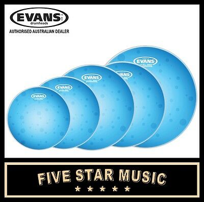 "Evans Hydraulic Blue 5 Pce Drum Skin Set W Coated Snare 10/12/14/14/16"" Heads"