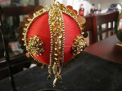 Vintage Handmade Red & Gold Sequins Beaded Christmas Ornament
