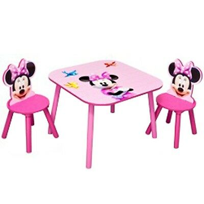 Minnie Mouse Table and Chairs, Kids Indoor / Outdoor Disney Dining 2 Seat Set