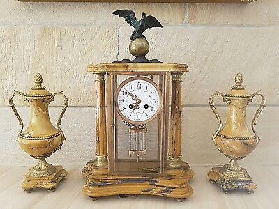 Antique French marble clock with two matching urns