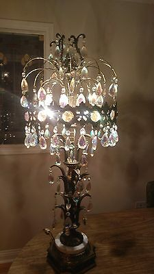 Vintage Brass Chandelier Crystal Pendant Table Lamp - Over 3' Tall - Marble Base