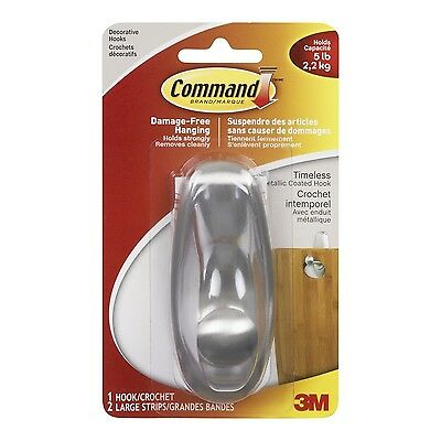 Command Timeless Brushed Nickel Large Hook 5 lb ... - Brand New +  Free Shipping