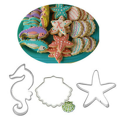 3Pcs Stainless Steel Star Shell Sea Cookie Cutter Mold Biscuit Baking Mold DIY