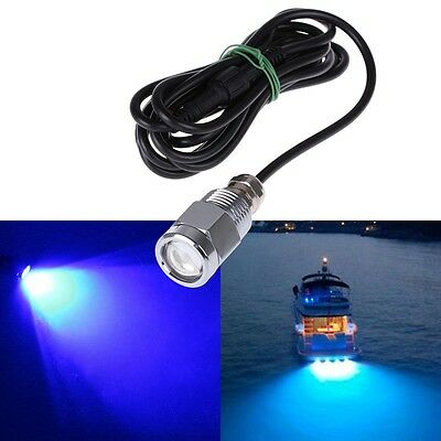 """6 led 1/2"""" NPT Underwater Boat Drain Plug Light with connector for fishing Blue"""