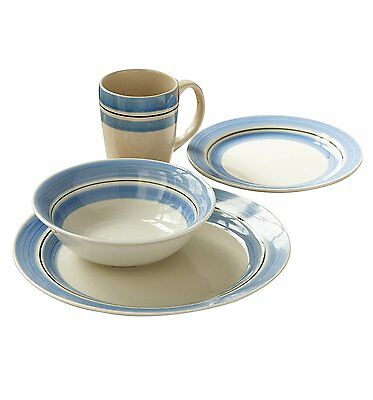 16PC Lagoon Dinner Set Plates Cups Bowls Hand Painted Stoneware White Blue