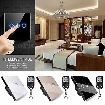 EU/UK Glass Panel Smart Touch Wall Light Switch 1/2/3 Gang 1 Way +Remote Control