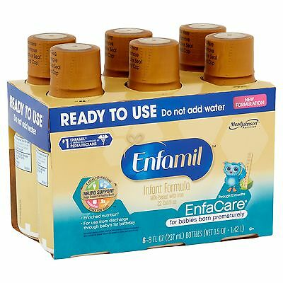 Enfamil EnfaCare Baby Formula - Ready-to-Use 8 Fl Oz Plastic Bottles - 6ct, Of