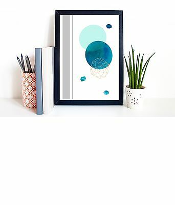 A4 Poster Print Abstract Geometric Shapes Watercolour Modern Art Home Decor