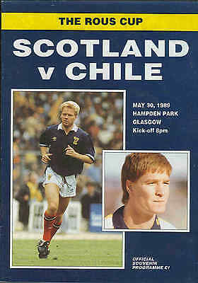 Football Programme - Scotland v Chile - International Friendly - 30/5/1989