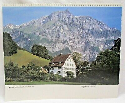 Vintage Calendar Geigy Pharmaceuticals 1990 Chateaus Country Houses Switzerland