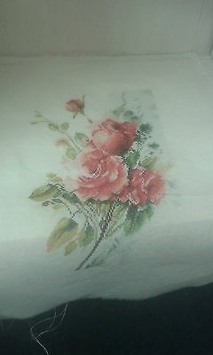 Beautiful Completed Cross Stitch Of Lanarte's Red Rose Bouquet