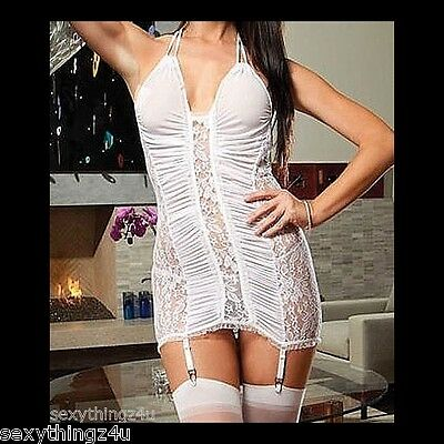 WHITE RUCHED FABRIC & LACE CHEMISE SET & Garters SIZE S/M 10-12