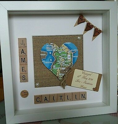 Personalised Map scrabble tile frame wedding Engagement gift Home location