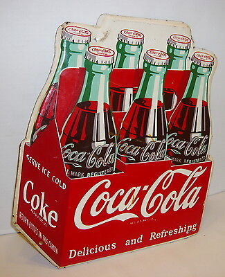 Vintage 1951 Coca-Cola 6 Pack Delicious And Refreshing Tin Sign