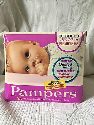 Vintage New 24 Pampers Toddlers Plastic Disposable Diapers 23 Lbs 1978 Baby Box