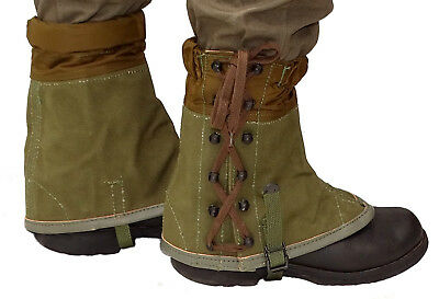 Genuine Italian Army Canvas Gaiters Olive Vintage Hiking Camping Padded New
