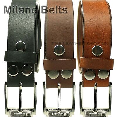Bullet Silver Press Stud Removable Buckle Milano Leather Jeans Wear Belt UK Made