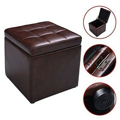 Brown Cube Ottoman With Storage Footstool Box Seat Bench Leather Stool Foot  Rest - Ethan Storage Ottoman In Brown Leather With Burlap • $120.42