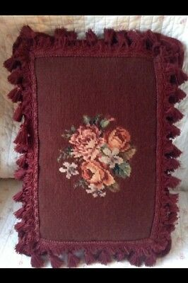Antique French Aubusson Pillow Wine Shabby Cushion Roses Needlepoint Tassels