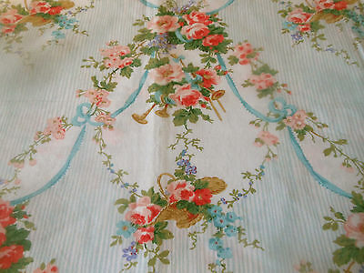 Vintage Basket of Roses Floral Garland Cotton Fabric ~ Pink Blue ~French Country
