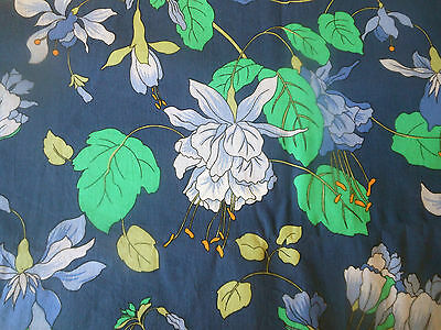 Vintage Retro French Floral Cotton Fabric ~ Blue Apple Green Citrus Yellow