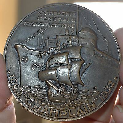 Deco 1932 French Champlain 1603-1932 Bronze Medal 66Mm