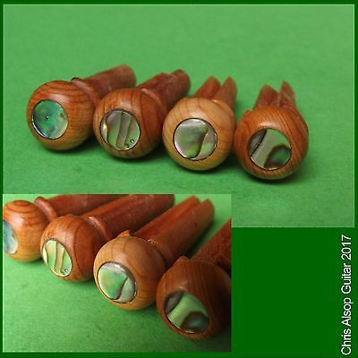 English Yew Acoustic Bass Guitar Bridge Pins with Abalone Inlay. PP041