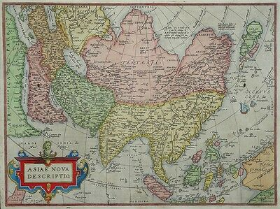 "Map of Asia ""ASIAE NOVA DESCRIPTIO"" Abraham Ortelius 1574 Original"
