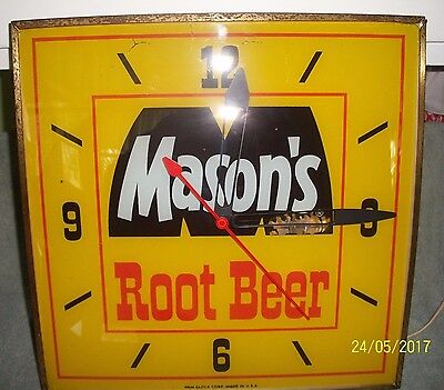 VINTAGE 1960's MASONS ROOT BEER  PAM CLOCK ADVERTISING SIGN SODA