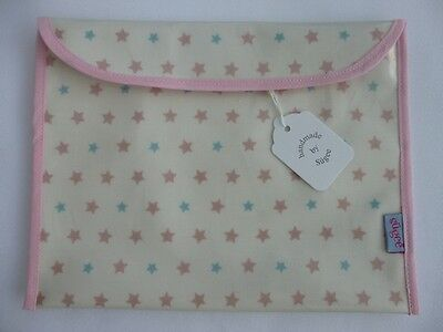 Handmade Baby Health Red Record Book Holder 'Stars Oilcloth' Fully Lined - BNWT