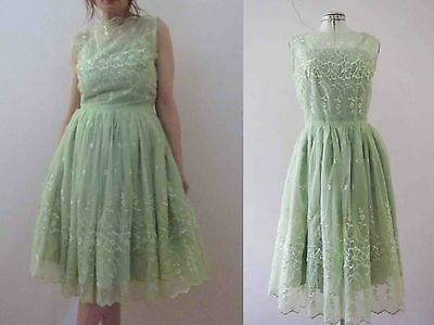 Vintage 50s Lime Green Party Prom Dress Small - Free Postage for 3+items