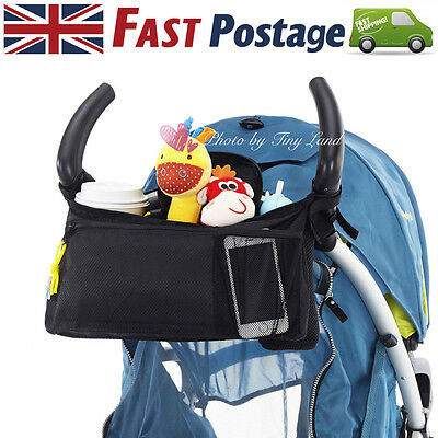 Pram Organiser Pushchair Stroller Buggy Cup Bottle Drink Food Holder Storage Bag