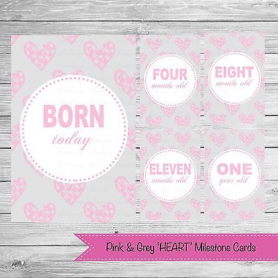 Pink & Grey 'HEART' Milestone Cards (13 Cards Per Pack) {Photo Props} CLEARANCE