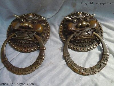 L 20 cm China Brass carved finely luck tiger knocker pair Sculpture statues