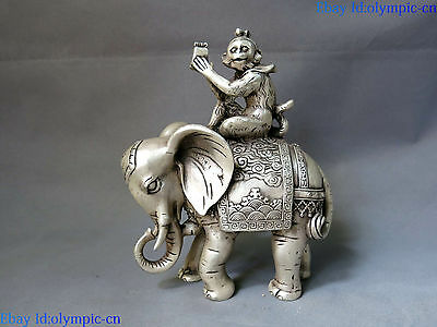 """8"""" China silver carved feng shui lucky money monkey on elephant sculpture Statue"""
