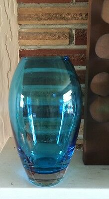"Large Modern Hand Blown Blue Art Glass Vase 11"" Poland Gorgeous!!!"