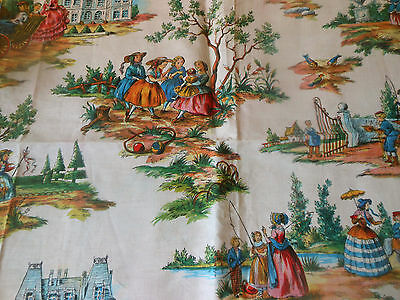 Vintage French Pastoral Children Cotton Toile Fabric ~ Pink Orange Blue