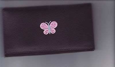 Pink And Blue Butterfly Leather Checkbook Cover