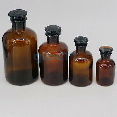 60-2500ml Brown Glass Narrow Mouth Bottle With Stooper Lab Chemistry Glassware